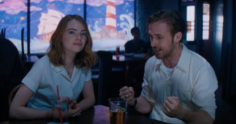"""Oscar nominees Emma Stone and Ryan Gosling in """"La La Land"""""""