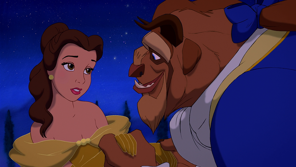 """Belle (Voice of Paige O'Hara) and the Beast (Voice of Robby Benson) in """"Beauty and the Beast"""""""
