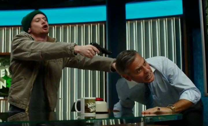 """Jack O'Connell and George Clooney in """"Money Monster"""""""