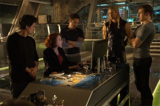 """Mark Ruffalo, Scarlett Johansson, Robert Downey Jr., Chris Hemsworth, and Chris Evans in """"Avengers: Age of Ultron"""""""