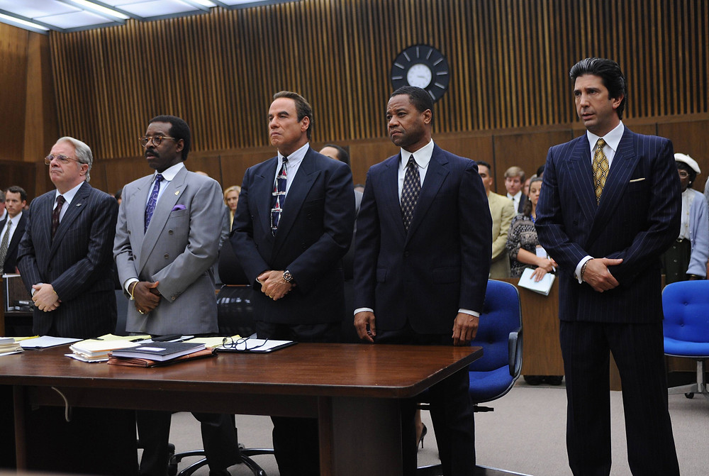 "Nathan Lane, Courtney B. Vance, John Travolta, Cuba Gooding Jr., and David Schwimmer in ""American Crime Story: The People v. O.J. Simpson"""