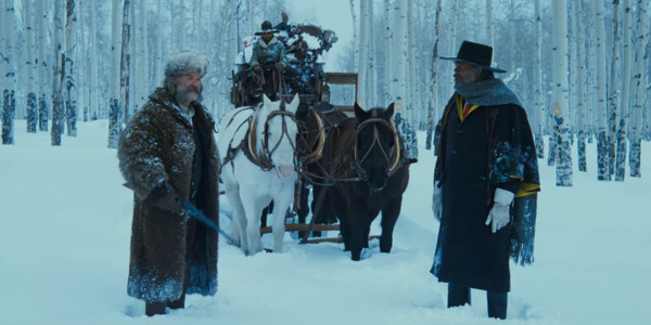 "Kurt Russell, James Parks, and Samuel L. Jackson in ""The Hateful Eight"""