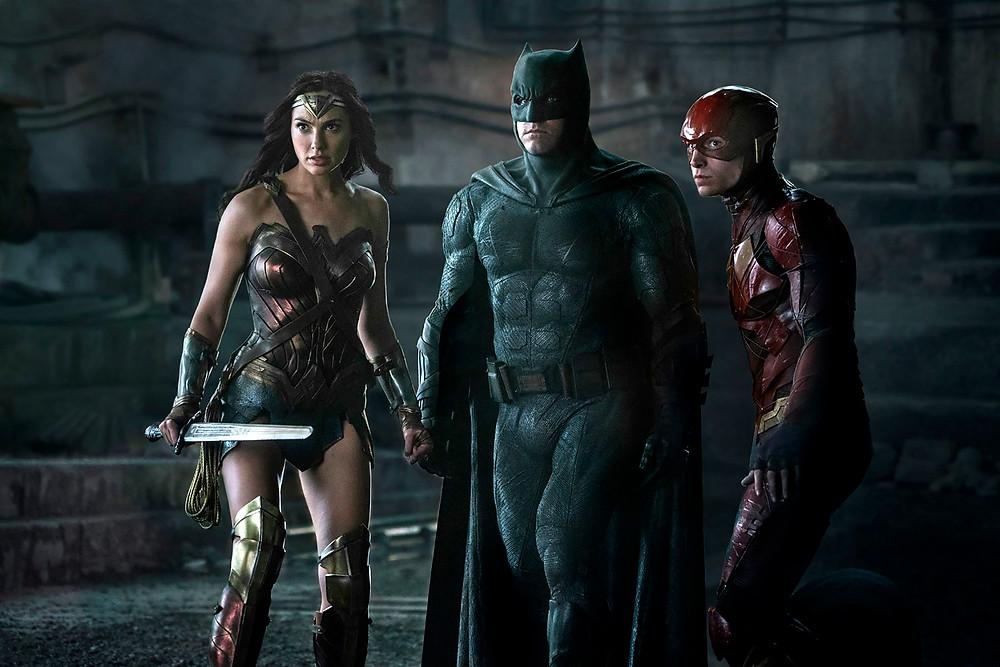 """Gal Gadot, Ben Affleck, and Ezra Miller in """"Justice League"""""""