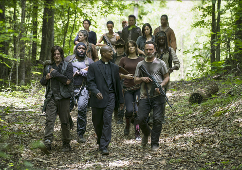 "Rick (Andrew Lincoln) and his fellow survivors in the fifth season of ""The Walking Dead"""