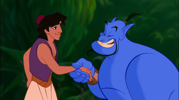 "Aladdin (Voice of Scott Weinger) and Genie (Voice of Robin Williams) in ""Aladdin"""