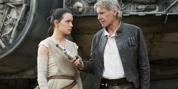 "Daisy Ridley and Harrison Ford in ""Star Wars: The Force Awakens"""