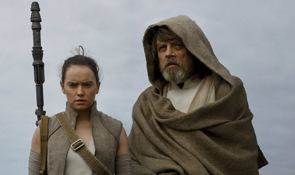 "Daisy Ridley and Mark Hamill in ""Star Wars: The Last Jedi"""