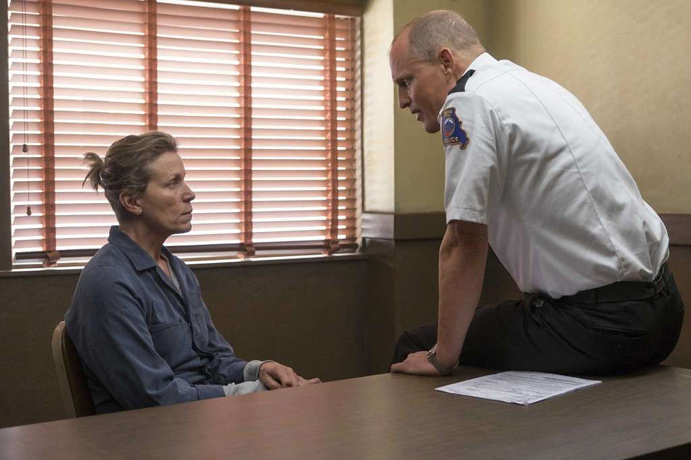 "Frances McDormand and Woody Harrelson in ""Three Billboards outside Ebbing, Missouri"""