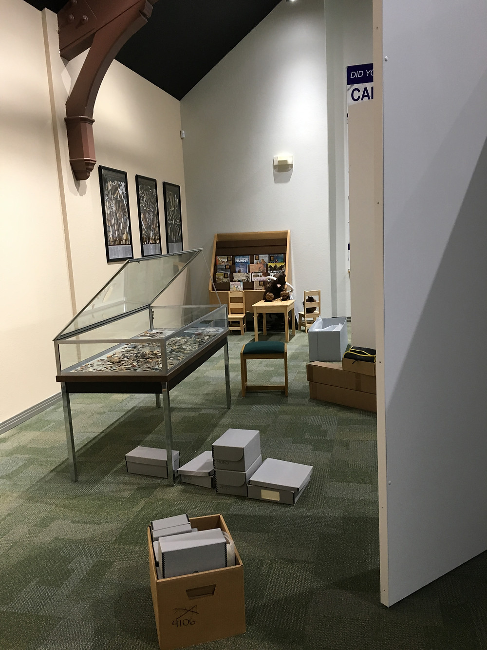 """A portion of the museum where """"projectile points"""" will be displayed. Photo by Jena Slater"""