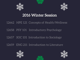 Registration Open for 2016 Winter Session