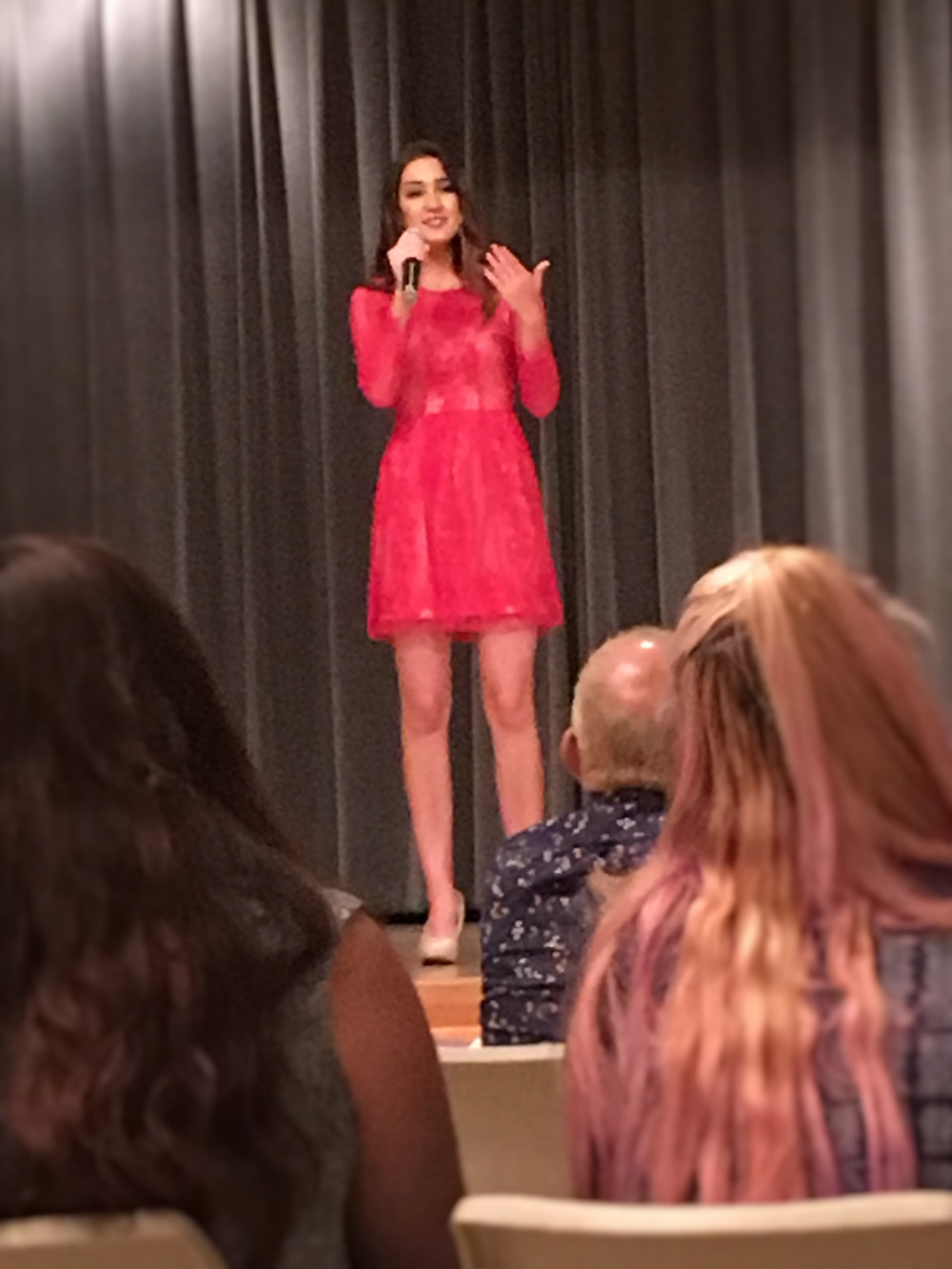 Rene Smith reciting a poem during the talent portion of the Miss Portales Pageant. Photo by Jena Slater