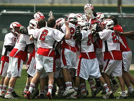 Team celebratig victory.