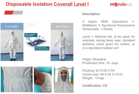 Disposable Isolation Coverall Level I 1.