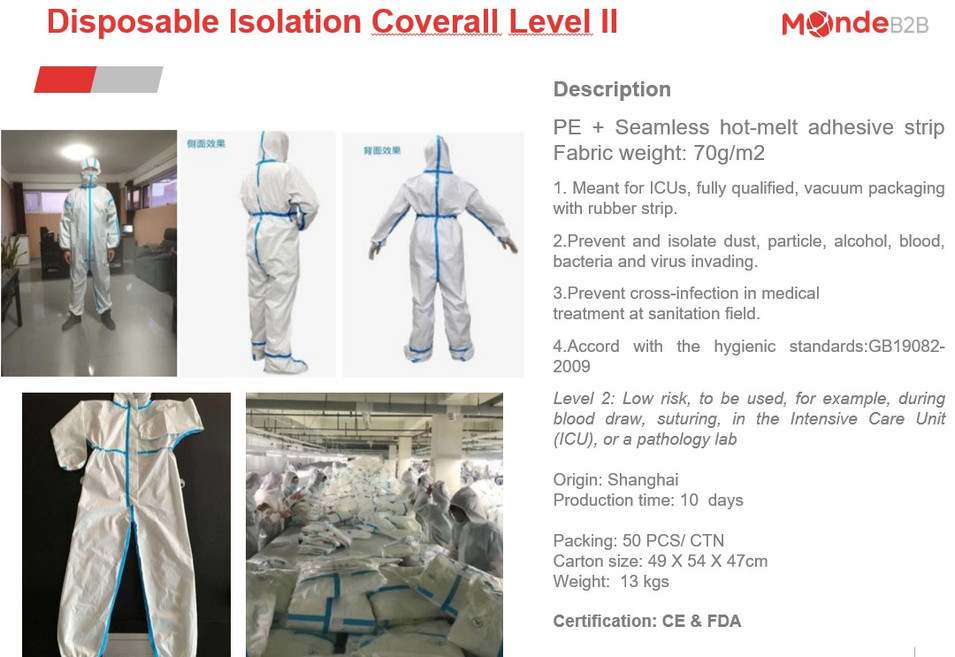 Disposable Isolation Coverall Level II 1