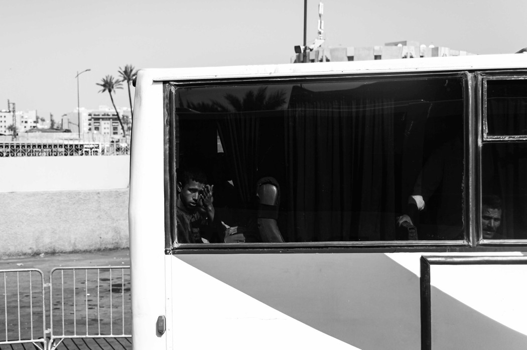 A young man on a bus in Marrakesh.