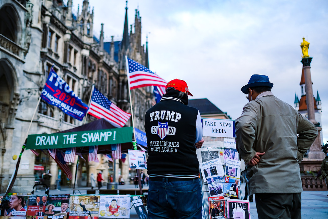 Trump supporter at the Marienplatz (Munich)