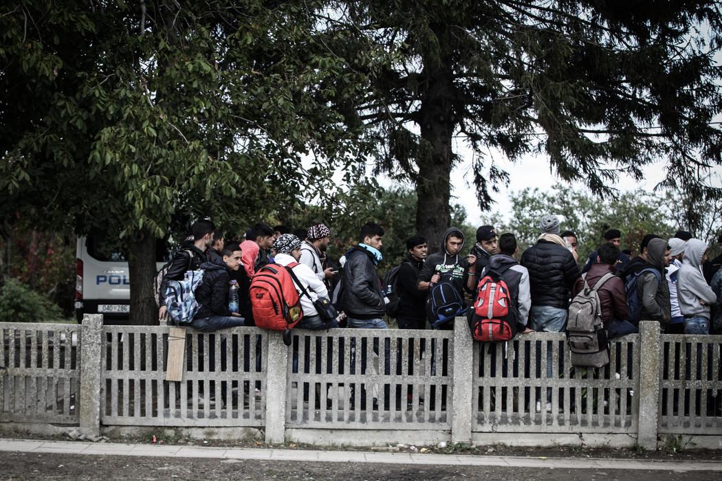 Refugees at the train station of Tovarnik, Croatia.