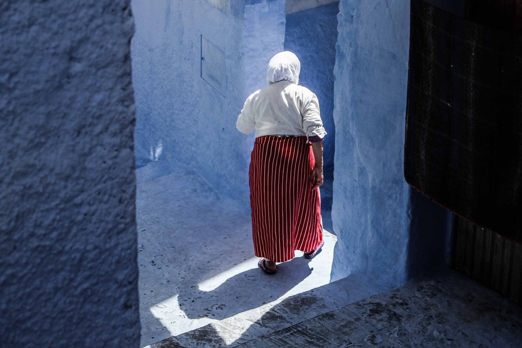 An old woman in the old town of Chefchaouen