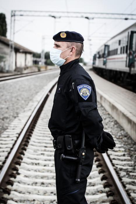 Police at the train station of Tovarnik, Croatia.