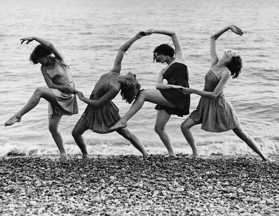 Kent Walmer ~ Summer school students of Miss Margaret Morris rehearse on the beach, 21 Aug 1934