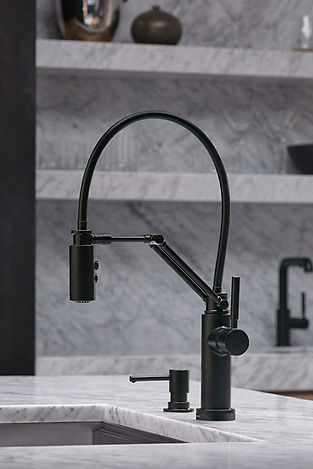 Kitchen faucet and sink with marble surround