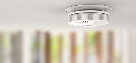 a carbon monoxide and carbon dioxide detector on the ceiling