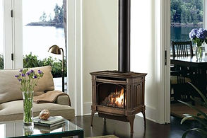 a freestanding stove in a living room