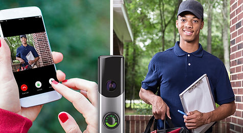 a split screen image, one side has a cell phone showing a delivery person, the other side shows the delivery person in full size