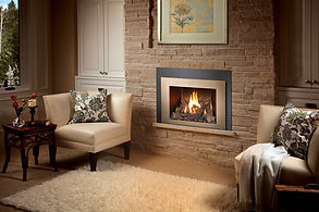 Fireplace insert in a modern living room