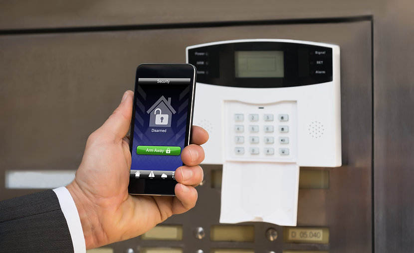a smartphone and alarm system