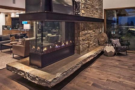A DaVinci fireplace in a rustic living