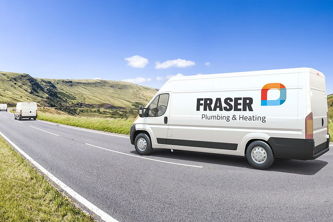 A white van driving down the road with a Fraser Plumbing and Heating logo on the side