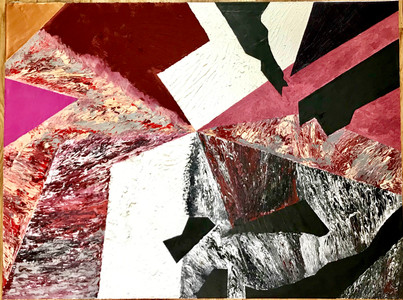 48in x 36in/ 121.92cm x 91.44cm. Acrylic paint, layered canvas mixed with gloss gel and all-purpose sand on canvas. 2020