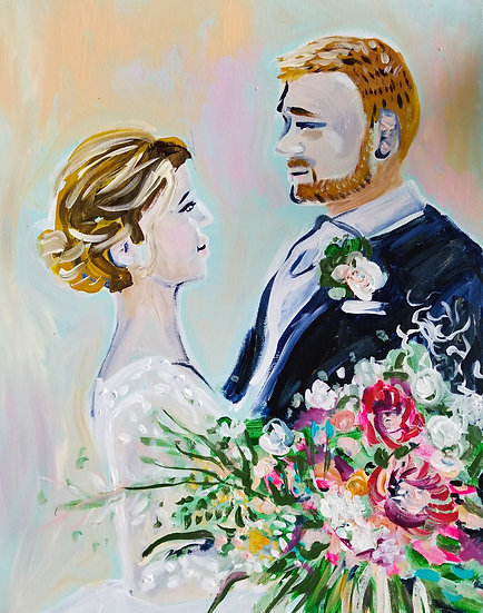 "COUPLE ONLY Wedding Painting from a Photograph 16"" x 20"""