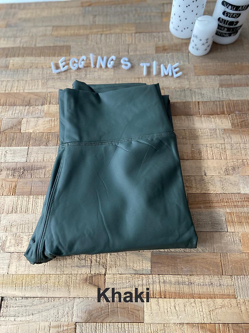 Deluxe Khaki Lederoptikleggings