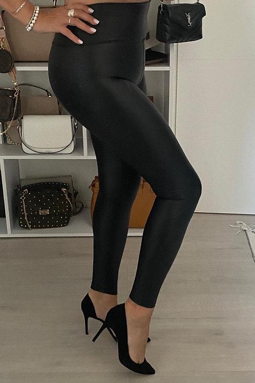 Deluxe Schwarz Lederoptikleggings