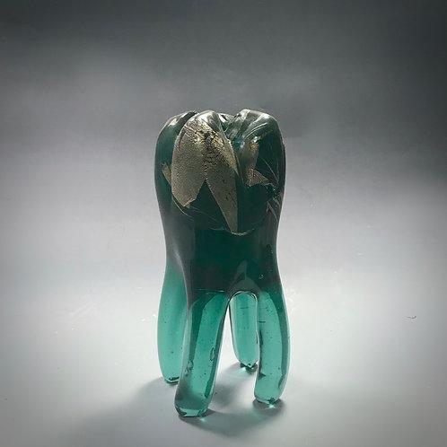 Aquamarine Glass Tooth with Silver Leaf