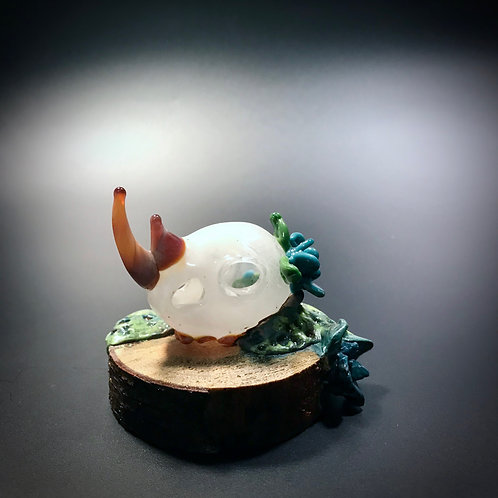 Rhino Skull with Glass and Clay Plants