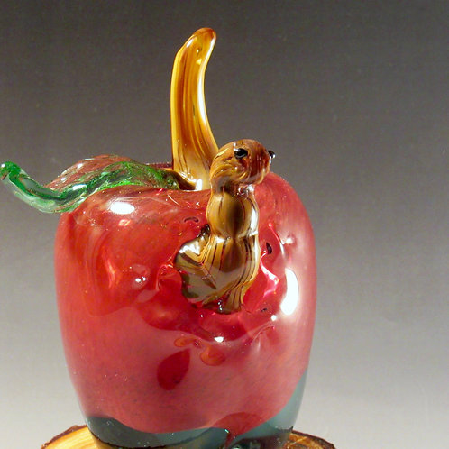 Hand Blown Glass Apple on a Wooden Base with Worm