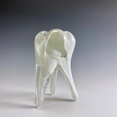 Clear and White Swirl Glass Medium Tooth