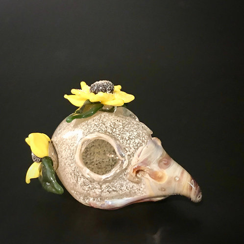 Blown Glass Bird Skull with Flowers
