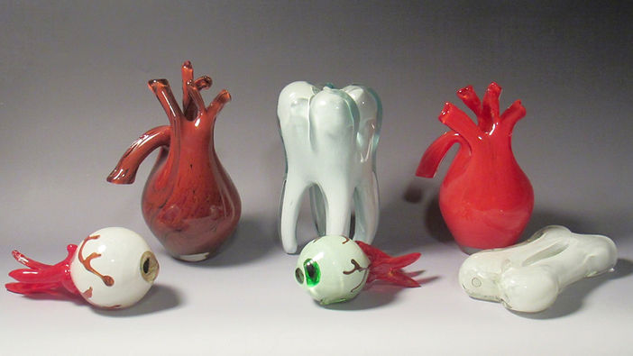 Hand blown Glass Anatomy Sculptures included a heart, tooth, eyeball, and bone