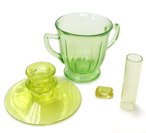 lime green glass containing uranium