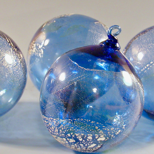 Glass Ornaments with Sliver Leaf