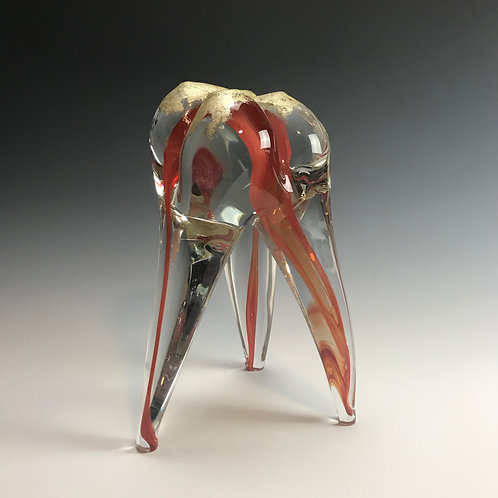 Large Glass Tooth with Red Nerves and Gold Leaf