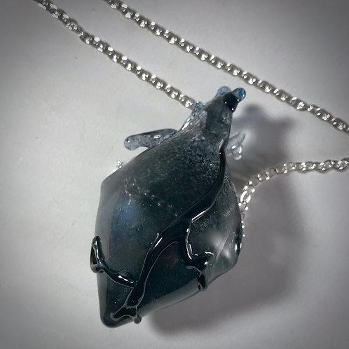 Anatomical Black Heart Pendant