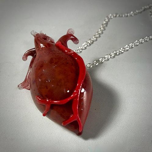Anatomical Dark Red Heart Pendant