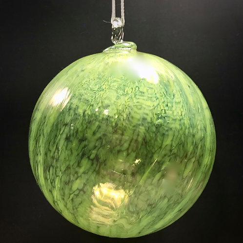 Lime Green Glass Ornaments with Ridges