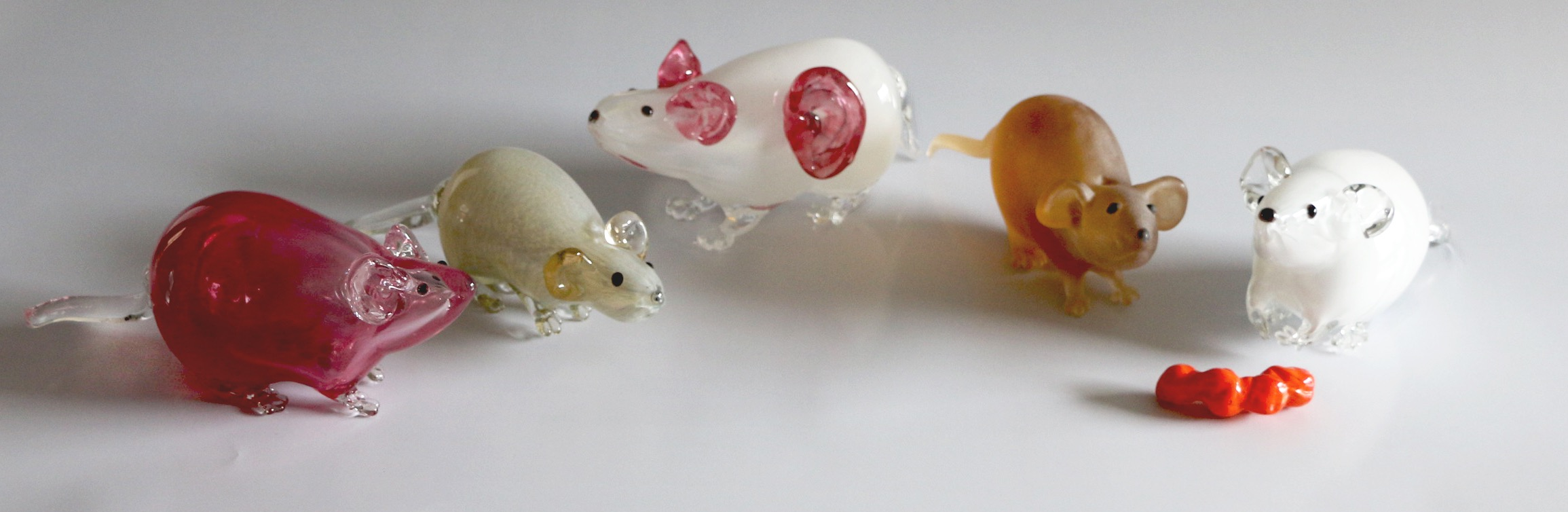 Hand blown glass lab rats