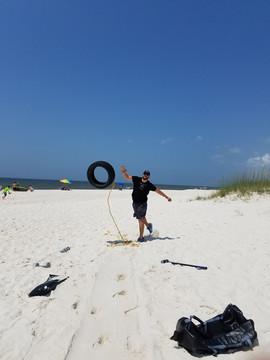 Beach Workout, Tire Throw.